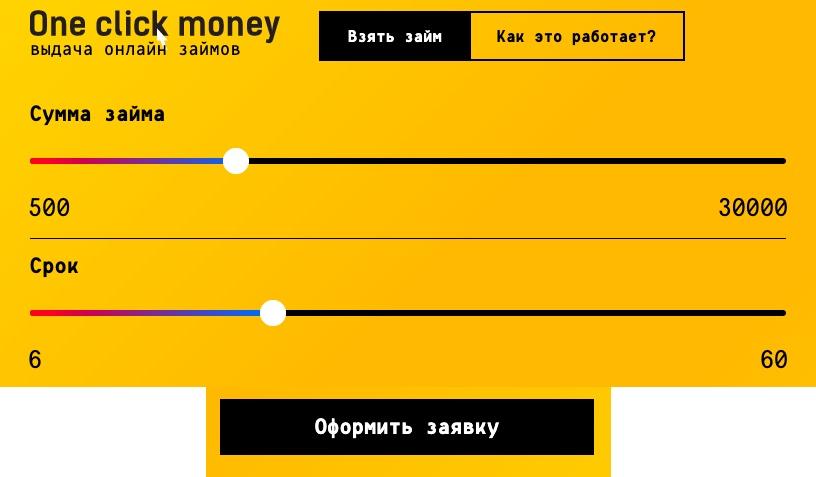Оформление онлайн-заявки на получение займа в OneClickMoney